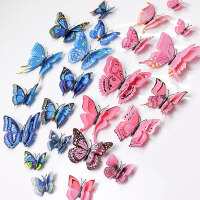 仿真蝴蝶3d立体墙贴儿童卧室房间墙壁装饰品贴画窗帘冰箱贴可移除