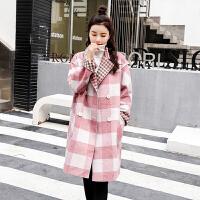 毛呢外套女2019秋冬新款韩版格子羽两件套潮