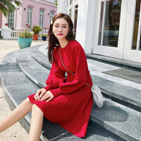 卡贝琳女2019新款秋季装法式维多利亚复古红色针织连衣裙女高腰a字百褶裙子女