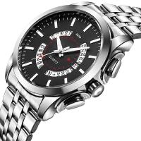 韩版时尚镂空男款日历钢带手表条钉款男士防水手表皮带手表学生表