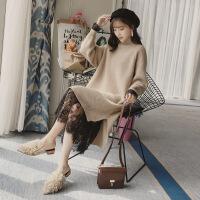 2019新款毛衣连衣裙秋冬季通勤打底两件套装女过膝中长款针织衫