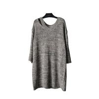 新年特惠大码女装慵懒气质镂空领宽松长款杂线毛衣裙内搭072