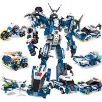 变形金刚机器人模型合体拼装积木男孩子兼容乐高启蒙益智汽车人机甲战士拼插玩具5-7-9岁
