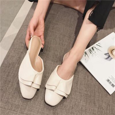 2019新款波浪花边包头半拖鞋女低跟方头甜美时尚拖鞋穆勒鞋女鞋