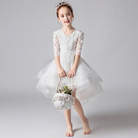 白色花童礼服钢琴表演主持人演出服儿童礼服晚宴蓬蓬纱公主裙