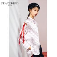 红色条纹POLO领衬衫2019春季新款长袖设计感时尚上衣女太平鸟女装