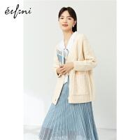 伊芙丽时尚针织衫女2021年春季新款韩版宽松减龄日系百搭显瘦开衫