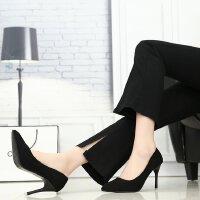 黑色高跟鞋女2018新款磨砂五厘米3-5cm浅口细跟工作正装礼仪单鞋