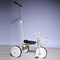 日本儿童三轮车脚踏车小孩自行车简约宝宝推杆手推童车1-3岁 白+前框(推杆)加厚版 送