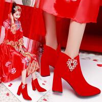 �t色婚鞋女2018新款粗跟新娘鞋冬季�Y婚高跟鞋中式秀禾鞋
