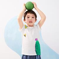 【秒杀价:95元】马拉丁童装男童T恤夏装2020新款艺术感图案印花舒适圆领短袖T恤