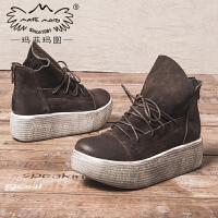玛菲玛图厚底短靴女秋季2018新款圆头高跟及踝靴帅气系带后拉链chic马丁靴881-5