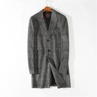 潮牌热推 宽松大码经典格纹中长款羊毛呢大衣外套英伦大码保暖风衣男 深灰色