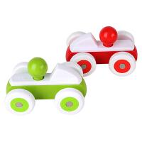 Hape宝宝小车红色12个月以上儿童玩具宝宝益智启蒙玩具婴幼玩具木制玩具E0064