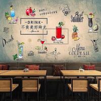 手绘清新奶茶店壁纸个性休闲咖啡小吃冷饮店创意欧式背景墙纸壁画 仅墙纸