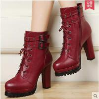 古奇天伦粗跟女靴马丁靴潮女短靴 新款短筒靴子高跟女鞋8102