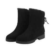 大码鞋40-43马丁靴英伦后系带加绒加厚保暖棉靴短筒靴小码32 黑色