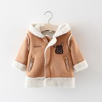女童风衣外套秋冬加绒3宝宝中长款秋装0-1岁2婴儿上衣连帽外衣潮