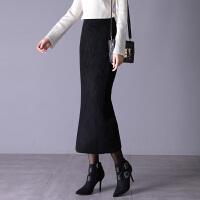 冬裙女2018新款秋冬加厚针织半身裙中长款包臀裙高腰线一步裙 (85-120斤可以穿)