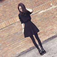 洋气秋轻熟风网红心机宽松女神小清新俏皮森女系毛衣裙子两件套装 黑色针织上衣+黑色裙子