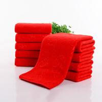 10条装大红色毛巾婚庆结婚用双喜回礼喜字红毛巾脱孝红色q 32x73cm