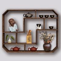 墙壁置物架中式 壁挂墙上茶具架隔断置物架客厅装饰小多宝阁古董架 碳化色大深度12 尺寸78*12*60 1米以下