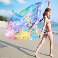 潮春秋夏季雪纺丝巾女长款围巾夏天沙滩巾空调大披肩纱巾