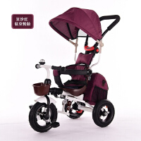 折叠三轮车脚踏车1到5岁婴儿手推车宝宝自行车童车YW03 豆沙红钛空轮+靠枕坐垫背包 带离合功能