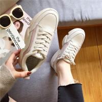 休闲运动鞋女2019春季新款真皮松糕厚底系带运动鞋学院风百搭单鞋