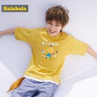 巴拉巴拉童装男童短袖T恤棉新款夏装儿童半袖文艺风圆领上衣