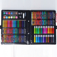 儿童水彩笔画画笔套装初学者绘画手绘幼儿园可水洗安全彩色笔 灰色 168件套黑色