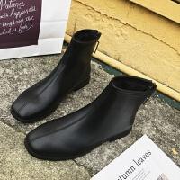 马丁靴女2018新款复古英伦风后拉链短靴女平底百搭加绒短筒裸靴潮