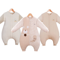 彩棉睡袋婴儿秋冬款分腿宝宝睡觉护肚小孩保暖加厚冬天防蹬防踢被