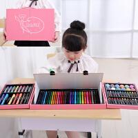 儿童画笔套装绘画水彩笔小学生画画工具文具美术用品女孩生日礼物 木头带画板128件粉色 围裙画本礼袋