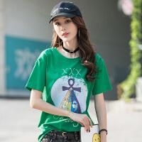 新品印花时尚棉韩板女装t恤衫韩版针织女士上衣