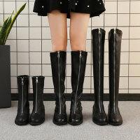 女士复古百搭粗跟中筒靴子 新款英伦风短靴女 时尚加绒保暖过膝靴女