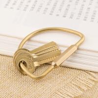 黄铜简约钥匙扣 结实钥匙圈 穿N多钥匙男女士创意礼品