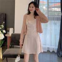 夏季2020新款韩版时尚小香风套装百搭针织开衫+吊带裙两件套女潮
