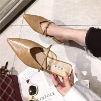 春季新款单鞋韩版粗跟尖头半拖鞋女包头凉拖蝴蝶结一字带外穿拖鞋