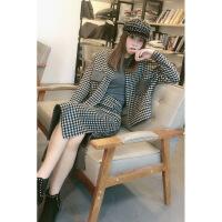 新颖潮牌小格子羊绒大衣女短款2019新款初秋冬羊毛呢外装二件套裙 黑色格子两件套
