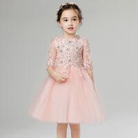 儿童晚礼服裙女童公主裙小花童主持人粉色长袖礼服裙蓬蓬婚纱春夏