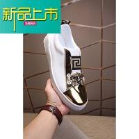 新品上市男鞋18新款韩版潮流一脚蹬皮鞋美杜莎刺绣人头套脚鞋 白金色 按皮鞋码购买