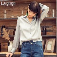 【清仓5折价161】Lagogo/拉谷谷2019年春季新款时尚女甜美丝滑百搭衬衫IACC431T22