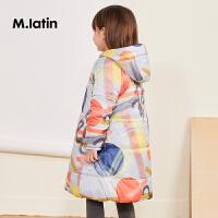 马拉丁童装女大童棉袄冬装新款图案中长款保暖棉袄外套