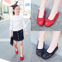 女童鞋子秋季儿童瓢鞋奶奶鞋黑色皮鞋公主浅口单鞋
