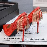 婚鞋女水晶鞋2019新款性感网红法式少女床上高跟鞋女礼服细跟单鞋