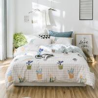 纯棉四件套全棉1.8m床上用品宿舍被套床单笠三件套1.5米定制