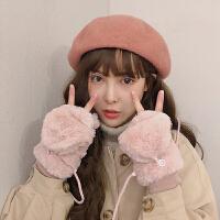 翻盖手套女冬可爱韩版加绒卡通ins学生日系露指半指毛绒冬天挂脖