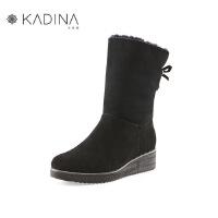 卡迪娜冬季款羊反绒面革毛毛鞋冬加绒坡跟羊毛雪地靴KLA81515