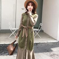 长袖气质长款假两件针织衫连衣裙 慵懒宽松显瘦大码毛衣长裙女秋 军绿色 均码